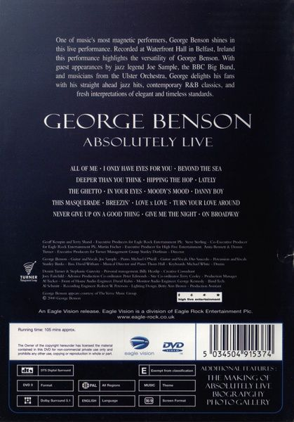 Polymusic eu  George Benson Absolutely Live DVD